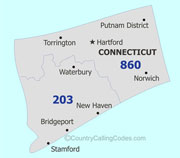 Connecticut area code map