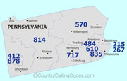 Pennsylvania area code map