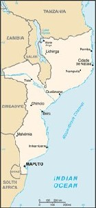 Country map of Mozambique