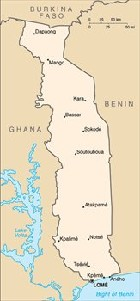 Country map of Togo